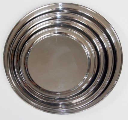 (4 Pc Round Stainless Steel Seriving Tray Set)