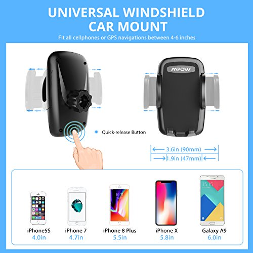 Mpow Car Phone Mount, Windshield Cell Phone Holder for Car with Long Arm Car Phone Mount for iPhone X/8/7/7Plus/6s/6Plus/5S, Galaxy S5/S6/S7/S8, Google, Huawei and More by Mpow (Image #4)