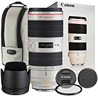 Canon EF 70-200mm f/2.8L USM Lens with Accessory Bundle for Canon EOS 70D, 80D, 77D, 7D Mark II, 5DS, 5DS R, 6D, 5D Mark III, 5D Mark IV, EOS Rebel T6i, T6s, T7i - International Version
