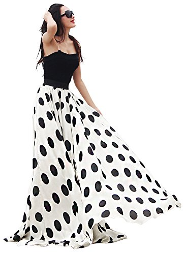 Women's Fashion Chiffon Polka Dot Print High-Waist Summer Long Maxi Skirt (XX-Large, White) (Printed Maxi Skirt)