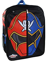 Power Rangers Boys 16 inch Backpack - Red/Blue Ranger Helmet
