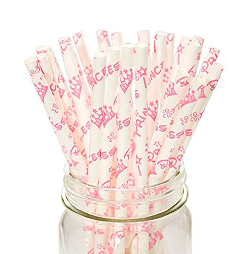 Secret Life(TM) Gold Pattern Set Paper Straws in 100% Biodegradable Container/White and Gold Paper Party Straws (PSCFPR11)