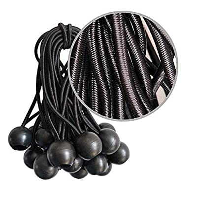 Ball Bungee Cords, 50 Packs, 4 Inch Black Tie Down Cords for Tarp, Canopy Shelter, Wall Pipe, UV Resistant