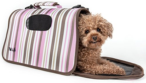 Pet Life Sporty-Caged' Airline Approved Folding Collapsible Fashion Pet Dog Carrier, Medium, Stripe Pattern