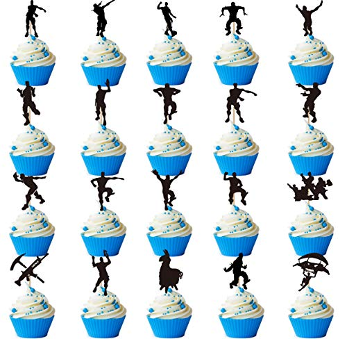 20 Pack Dance Floss Cupcake Toppers for Birthday Cake Decoration Fort Night Party Supply Perfect for Gaming Themed Party
