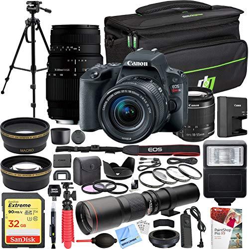 Canon EOS Rebel SL2 24MP SLR Digital Camera (Black) + EF-S 18-55mm is STM + Sigma 70-300mm f/4-5.6 DG Macro Telephoto Zoom 2 Lens Kit + 500mm Preset f/8 Lens + 0.43x Wide Angle, 2.2X Pro Bundle