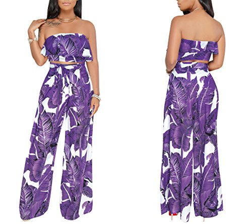 YSJERA Women's 2 Pieces Outfit Floral Sleeveless Tube Top Palazzo Long Pants High Waist Jumpsuits by YSJERA