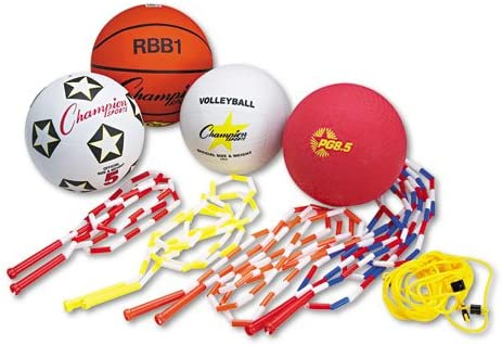 Champion Sports – 体育教育キット 7つのボール 縄跳び14本 アソートカラーセット – セット販売 – 複数のゲームを1つのセットに収納できます。