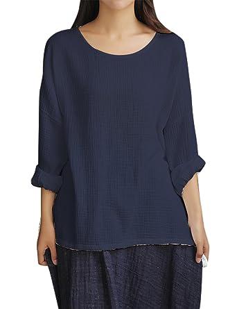 0981f09743 IDEALSANXUN Women s Cotton Linen Long Sleeve Baggy T-Shirt Pullover Top at  Amazon Women s Clothing store