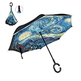 ALAZA Inverted Golf Umbrella Van Gogh Starry Night Galaxy UV Anti Windproof Reverse Folding Umbrellas with C-Shape Handle for Car Outdoor Travel