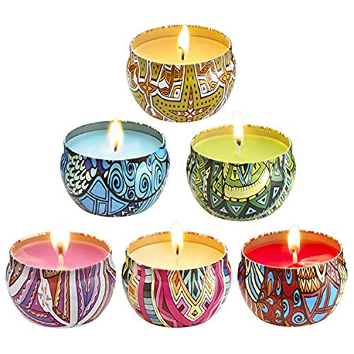 - Scented Candles,Gift Set Strongly Scented Candles, 100% Natural Soy Wax Candle Use for Aromatherapy, Weddings, Travel Tins, Best Gift (Lemongrass, Rose, Peppermint, Lavender, Peach, Grapefruit, 6Pack)