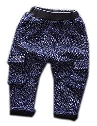 Boy Woolen Winter Plus Velvet Trousers Blue Multiple Sizes Optional