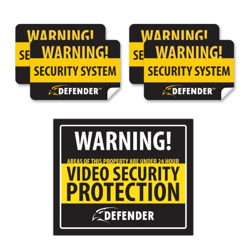 (Defender SP102-SGN Indoor Video Security System Warning Sign with 4 Window Warning Stickers)