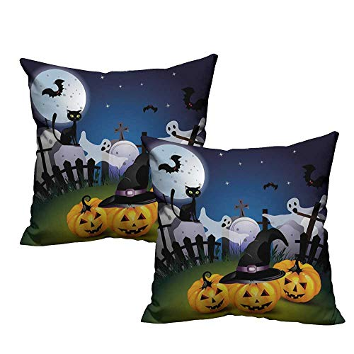 WinfreyDecor Simple Pillowcase Halloween Funny Cartoon Design with Pumpkins Witches Hat Ghosts Graveyard Full Moon Cat Mildew Proof W17 x L17 -