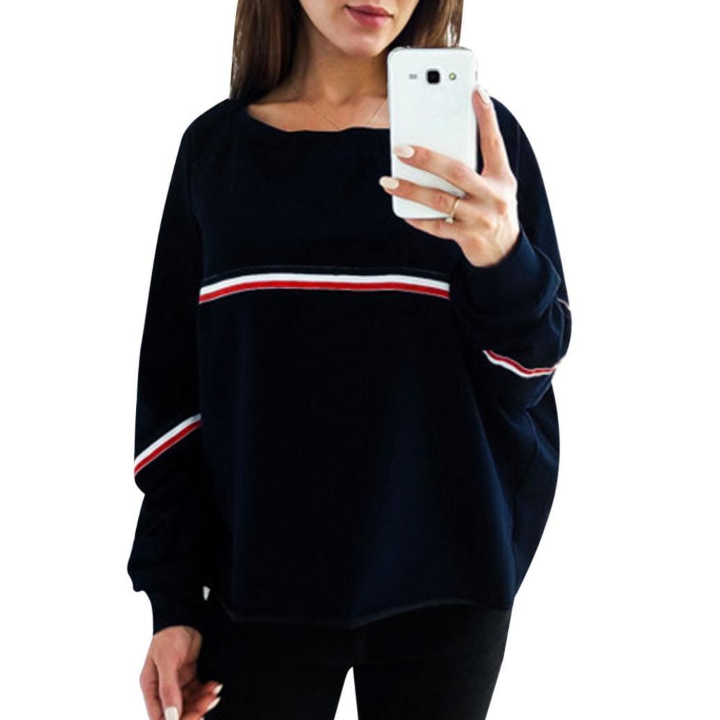 ESAILQ Damen beiläufige lose Lange Hülsen Sweatshirt Pullover Oberseiten Bluse