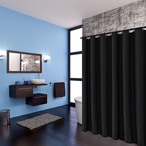 Biscaynebay Fabric Shower Curtain Liners Water Resistant Bathroom Curtain Liners, Black 72 by 72 Inches