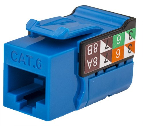 CAT6 RJ45 Keystone Jack, V-Max Series - Blue Color - (50 - Jack Bl Cable Cat6