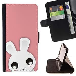For HTC DESIRE 816 - Cute Pink Bunny Rabbit /Funda de piel cubierta de la carpeta Foilo con cierre magn???¡¯????tico/ - Super Marley Shop -