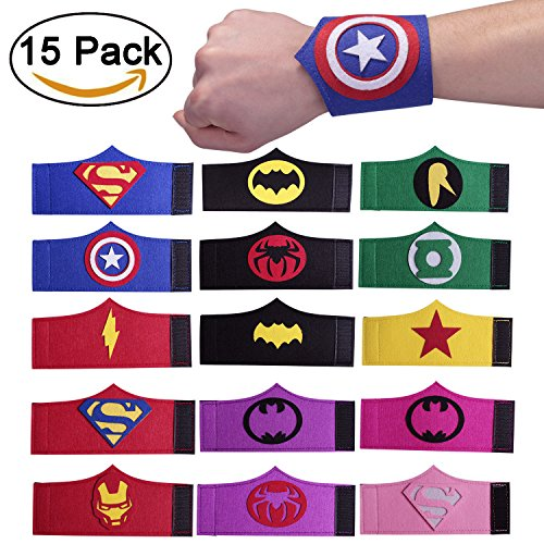 Superhero Party Bracelets for Children Birthday Party Supplies Favors 15 Pieces 15 Piece Ornament Set