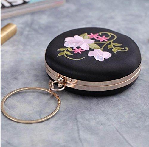 GSHGA Nuevo Bolso De Embrague Del Bolso De Noche Bolso Redondo Del Vestido Del Bordado De La Vendimia De La Flor,Pink Black