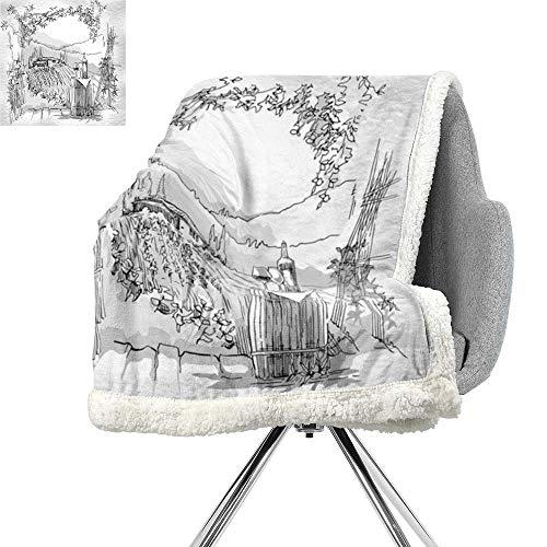 Sketchy Cozy Flannel Blanket,Aerial View of Valley with House and Winery Elements Italian Mediterranean Art,Pale Grey Black,Bed Cover W59xL78.7 Inch - Morgan Winery California