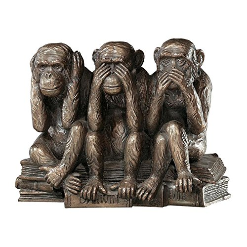 Design Toscano Hear-No, See-No, Speak-No Evil Monkeys Animal Statue Three Truths of Man Figurine, 7 Inch, Polyresin, Bronze Finish