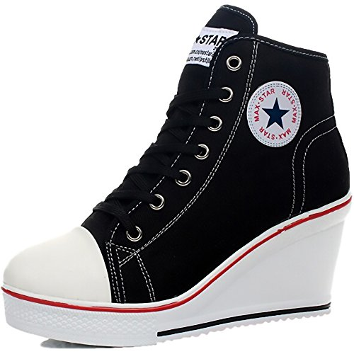 Women's Casual Black White Badge Fashion Sneakers Canvas Lace Up High Heeled Ankle Zipper Wedges (Women's 4 / EU 35, Black)