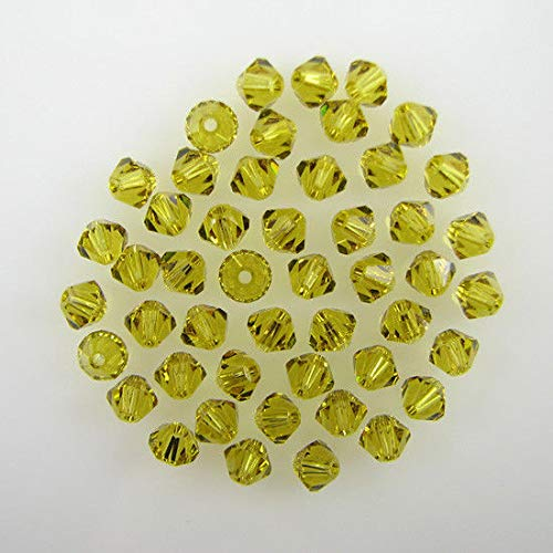 48 4mm Swarovski Crystal bicone 5301 Lime beads