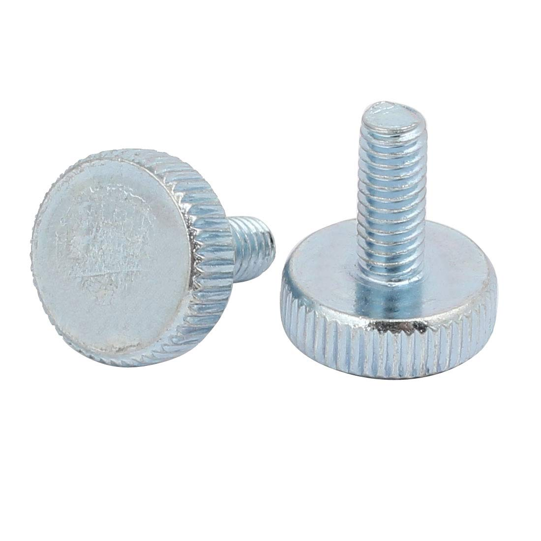 sourcing map M4x10mm zingu/é filetage T/ête Ronde Vis molet/ée bleu argent 25pcs