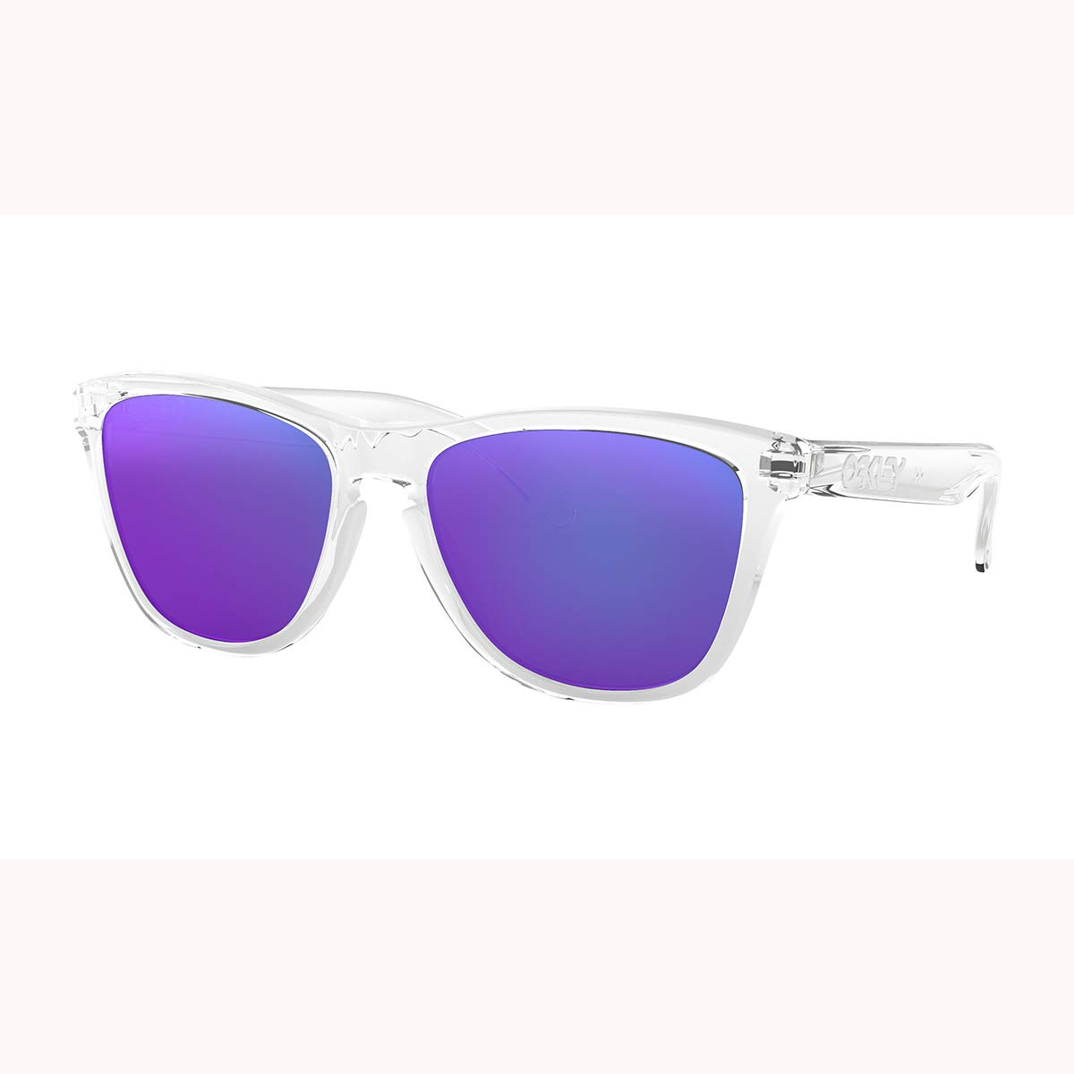 Oakley Men's OO9013 Frogskins Square Sunglasses, Polished Clear/Violet Iridium, 55 mm by Oakley