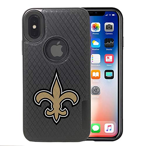 Saints iPhone X Case, iPhone Xs Saints Case, Saints Carbon Fiber Pattern Anti-Scratches Non Slip Sturdy Protective Back Cover Flexible Rubber Edges, with Metal Plate Disc for Magnetic Car Mount