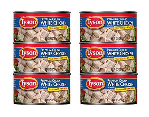 Protein Chicken Fillet - Tyson Foods Premium Chunk White Chicken 98% Fat Free, 12.5oz Can (Pack of 6)