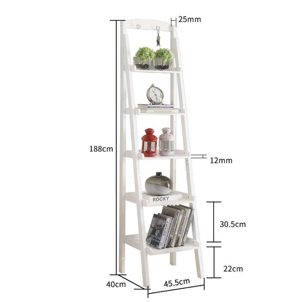 MEIDUO 棚 5段ラダーシェルフ多機能プラントフラワーディスプレイスタンド収納ラック書棚本棚2つのフック 収納家具 (色 : 白) B07HP7FPDV 白