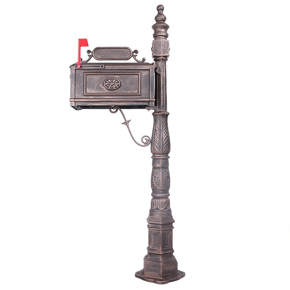 Mallofusa Mailbox with Post Decorative Cast Aluminum Postal Box Mailbox Bronze by Mallofusa