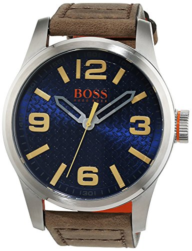 Hugo Boss Orange Paris Men's Quartz Analogue Classic Brown Leather Strap 1513352