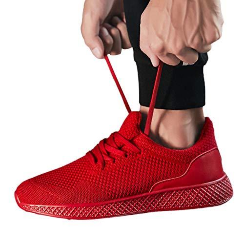 Da Il Libero Rosso Lacci Traspiranti Con Scarpe Sportive Sneakers Corsa Tempo Per Uomo Alikeey Piatte Leggere E0RU4wqCx