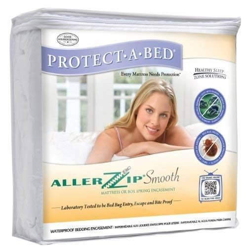AllerZip Smooth Anti-Allergy & Bed Bug Proof Mattress or Box Spring Encasement - Queen Size (Depth 4 - 8)