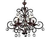 Cheap Wrought Iron and Crystal 5-light Chandelier