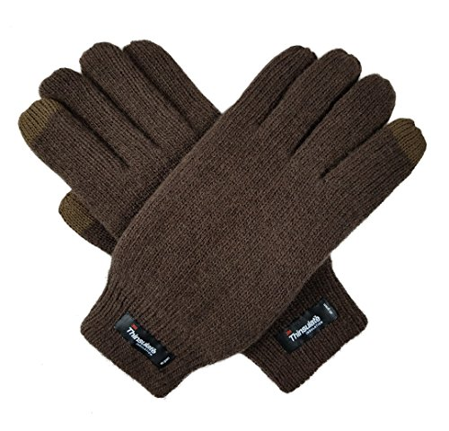(Bruceriver Men's Wool Plain Basic Style and Touchscreen style Knitted Gloves with Thinsulate Lining Size L/XL(Brown Touchscreen))