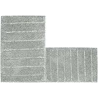 UArtlines Kitchen Mat, Decorative Non-Slip Microfiber Doormat Bathroom Mats Shower Rugs Living Room Floor Mats Set (17.7x25.6+20x32, Striped Gray)