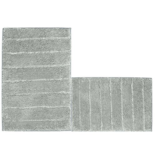 Kitchen Mat, U'Artlines Decorative Non-Slip Microfiber Doormat Bathroom Mats Shower Rugs for Living Room Floor Mats Set (17.7x25.6+20x32, Striped Gray) by U'Artlines