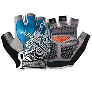 Generic High quality New Blue Fashion Shockproof Sports Glove para Bicycle Half Finger Glove XL Size