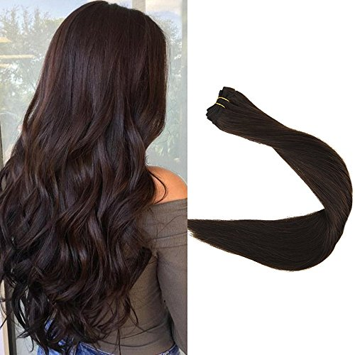 Full Shine 14 inch Weft Extensions Double Wefted Human Hair Full Head Color #2 Dark Brown Sew in Hair Bundles Remy Hair 100g Per Package Remy Hair