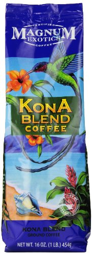 Magnum Exotics Kona Blend Coffee, Ground, 16 Ounce