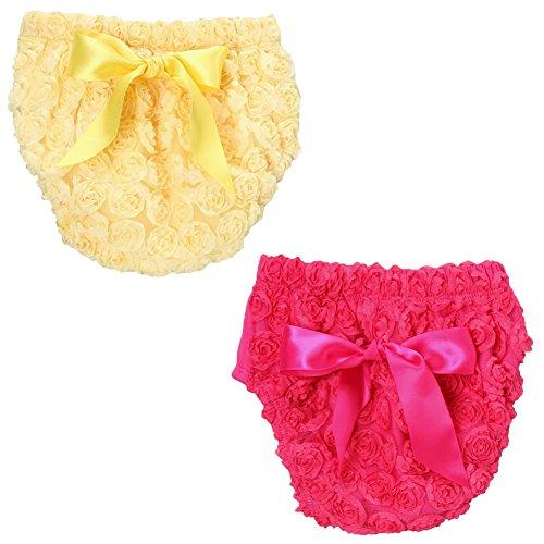 Chiffon Rosette (Fancy Chiffon Rosette Baby Diaper Cover Bloomer 2-Pack Gift Set (Small, Hot pink + Yellow))