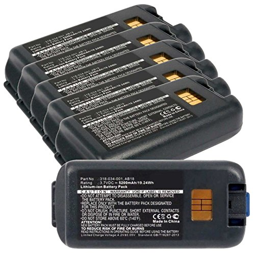 6x Exell EBS-CK3X Li-Ion 3.7V 5200mAh Batteries For Intermec CK3, CK3A. Replaces Cameron Sino CS-ICK300BX, INTERMEC 318-033-001, 318-034-001, AB17, AB18 by Exell Battery