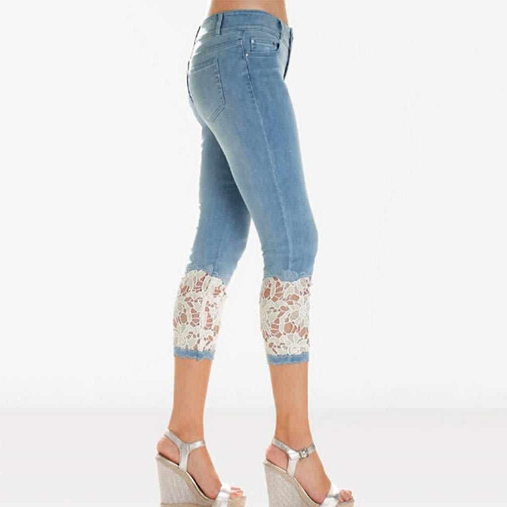 FNKDOR Femmes /Ét/é /Élastique Dentelle Denim D/écontract/ée Tondu Pantalon Femme Denim Jeans Slim Pantacourt De la dentelleTaille Haute Jean Stretch Pant Mile High Super Skinny Jean Pantalons