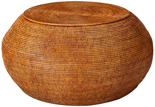 Kouboo 1110120 La Jolla Round Rattan Storage Coffee Table Honey-Brown