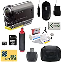 Sony HDR-AS30V HD POV Action Camcorder with 47stPhoto Advanced Accessory Kit Includes - 32GB High-Speed Micro SD Card + Card Reader + NP-BX1 1400mAh Li-ion Battery + AC/DC Battery Charger + Stabilizing Handgrip + Hard Shell Carrying Case + Lens Cleaning Kit including LCD Screen Protectors Photo Print