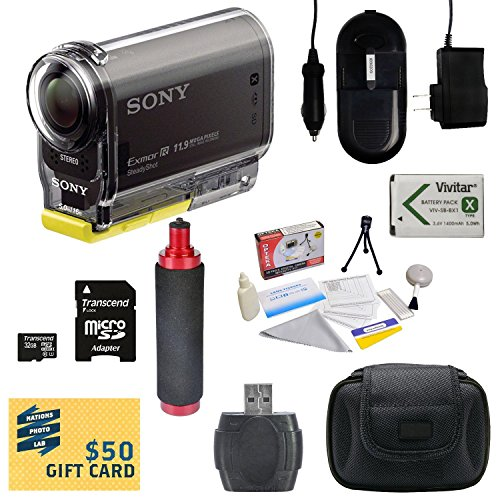 Sony HDR-AS30V HD POV Action Camcorder with 47stPhoto Advanced Accessory Kit Includes - 32GB High-Speed Micro SD Card + Card Reader + NP-BX1 1400mAh Li-ion Battery + AC/DC Battery Charger + Stabilizing Handgrip + Hard Shell Carrying Case + Lens Cleaning Kit including LCD Screen Protectors Photo Print -  47th Street Photo, SAS30V-POV_KIT4